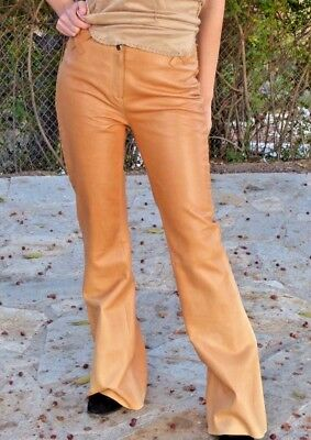 Vintage 80's Apropos Camel Beige Light Brown Italian Leather Laced Pant RARE