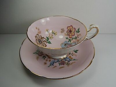 Paragon Pink Cup and Saucer. Oriental Gold Floral Pattern.