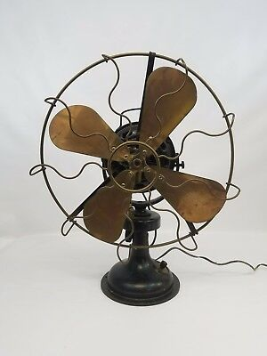 """MARELLI 16"""" Four Brass Blade FAN Italy Antique - Watch the Video"""