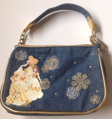 ((Disney)) **Princess** Zippered Purse Handbag Girls Denim Glitter Gold Sparkle*