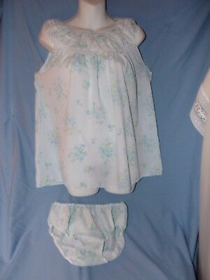 Vintage blue with flowers Babydoll nitie with panties size large PJ Party!!