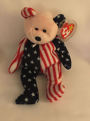 SPANGLE THE PINK FACED USA BEAR - Ty Beanie Baby (Beanies, Babies)