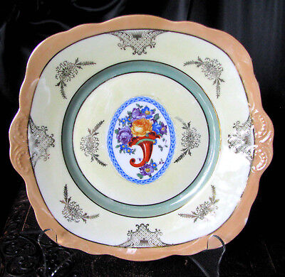 Antique Unmarked Purple Roses Red Horn of Plenty Handled Cake Plate Circa 1800s