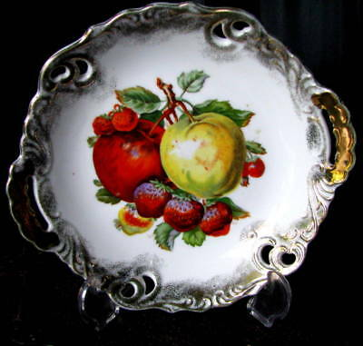 """Antique Hand Painted Unmarked Reticulated Handled Strawberry 8 1/2"""" Cake Plate"""