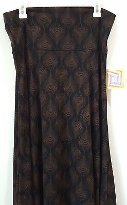 LuLaRoe New Maxi Skirt Brown Black Feather Abstract Pattern Large NWT