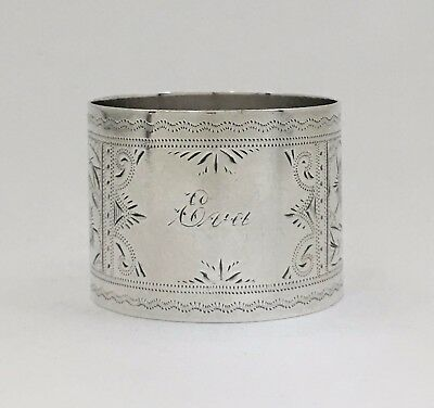 """Beautiful Bright Cut Engraved Antique Sterling Silver Napkin Ring """"Eva"""""""