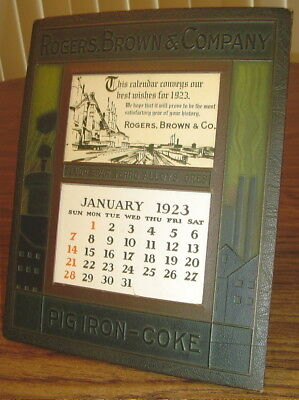 1923 Rogers Brown & Company Iron Works Calendar Embossed Frame Complete