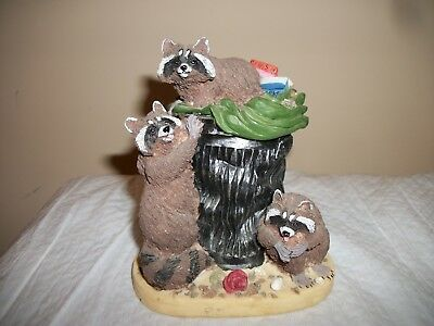 """Raccoons in Trash 5""""  Figurine by Youngs"""