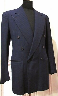 DOUBLE BREASTED VTG 1930'S WIDE LAPEL DARK BLUE GANGSTER SUIT SZ 38 Button Fly