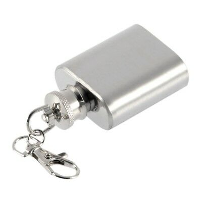 Portable 1oz Mini Stainless Steel Hip Flask Alcohol Flagon with Keychain GL