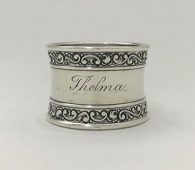 """Gorham Beautiful Antique Sterling Silver Napkin Ring """"Thelma"""""""