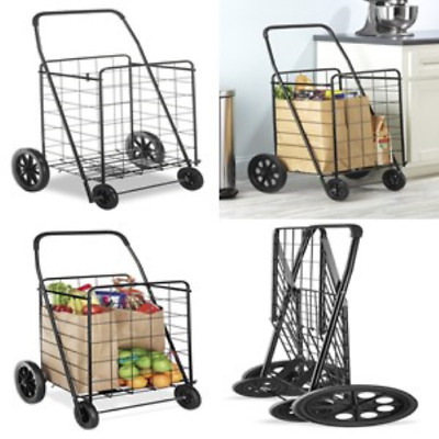 Grocery Shopping Cart Rolling Basket Heavy Duty Big Wheel Tires Light Weight NEW