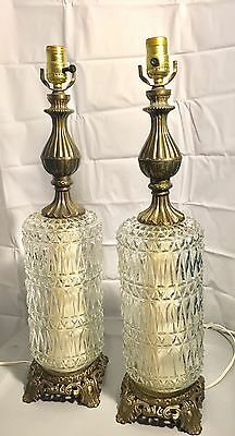 PAIR of Vintage Crystal Glass and Brass Electric Table Lamps