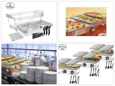 Tiger Chef 30-Piece Catering Set Serving Dishes for Parties Includes Chafer Pans