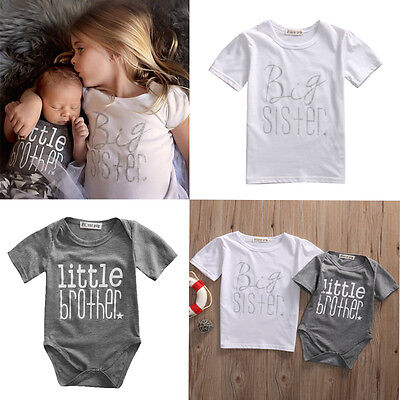 US Matching Cotton Clothes Big Sister T-shirt Little Brother Romper Outfits Set