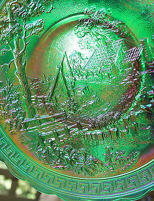 GREEN CARNIVAL GLASS HOMESTEAD PLATE marked IG