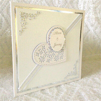 Handmade Personalised Wedding Card Silver 3D