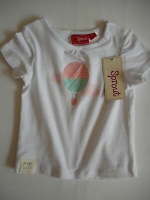 New Sprout Cat In A Hot Air Balloon Print Sweet T Shirt Sz 00 3-6 Months