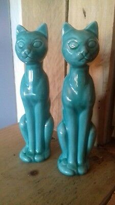 2 Beautiful Vintage Turquoise Ceramic Cats. Made In England. 17Cm Tall