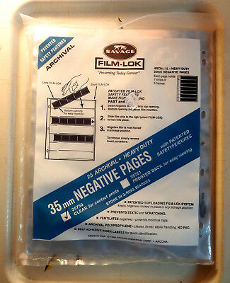 25-Pack 35mm Film Archival Savage Clear Negative Pages Sleeves 25 New