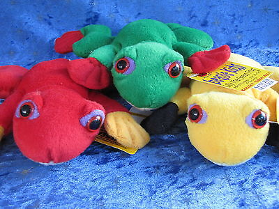 Beanie Kids - Lilly Green Frog - Croaker Red Frog - Ribbit Yellow Frog Bk 8 Rrp
