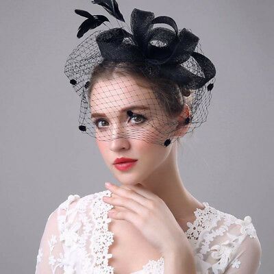Vintage Women Feather Net Veil Wedding Party Fascinator Hat Hair Accessories AU