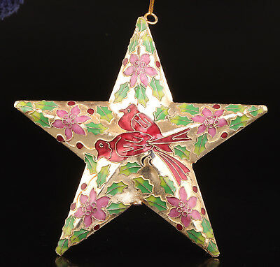 Old Cloisonne Statue Figurine Stars Christma Tree Decoration Pendant