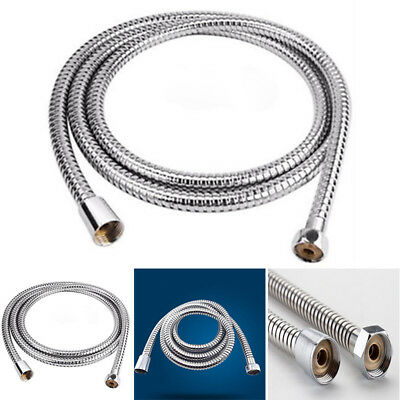 Stainless Steel Flexible Bathroom Bath Shower Silver Hose Pipe Tube Washer Tools