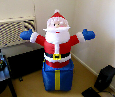 120cm plug in blow up inflatable Santa on Gift Box Christmas decoration + extras