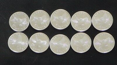 "Lot Of 10 ""sunshine Minting""  Half Troy Ounce .999 Fine Silver Rounds-Total 5 Oz"