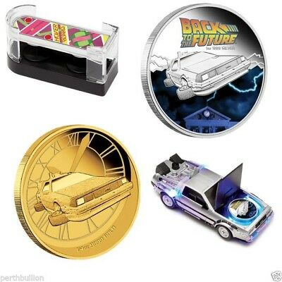 2015 Back to the Future set - Hoverboard Delorean Gold Silver coins Perth Mint