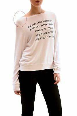 Wildfox women's Eat Pizza for Breakfast NWT Pullover White Size S RRP 95 £BCF78