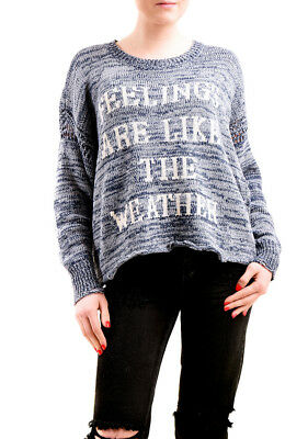 Wildfox Women's Feelings and Weather Pullover Denim Blue Size S RRP £170 BCF75