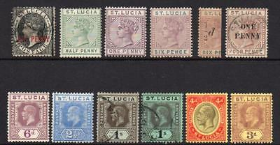 St Lucia 12 Stamps  Mounted Mint or Used (little tone) (s460)
