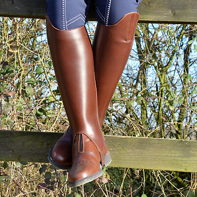 Outdoors Ladies Country Riding TUFFA LEATHER Gaiter Brown Half Chaps Pony Horse