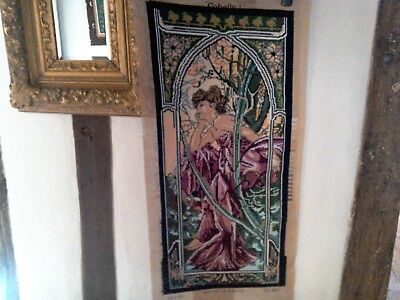 Hand sewn modern tapestry/cross stitch, William Morris style, 45 x 90 cms