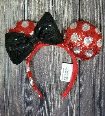 Disney Parks Disneyland Minnie Mouse Red w/White Polka Dot Black Bow Sequin Ears