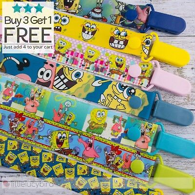 Spongebob Dummy Clip - Pacifier Clips - Soother Chain - Baby Gift