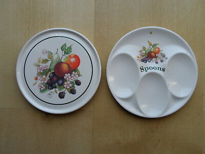 Johnson Brothers Fresh Fruit Pattern Spoon Rest & Teapot Stand