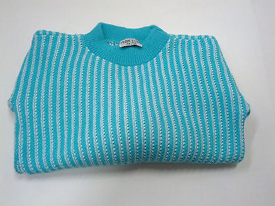 vintage girls pullover sweater knit  top long sleeve ribbed blue white striped