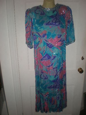 Vintage NEIMAN MARCUS 100% silk beaded dress 70s blue SZ MED made n INDIA lined
