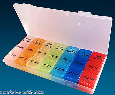 21 Slot Pill Case ~ 7 Day Medication Storage Case, AM PM Organiser Dispenser Box