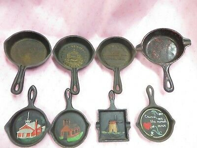 Cast Iron Skillet Ashtray Mini Vintage Antique Made in USA LOT of 8 All Genuine