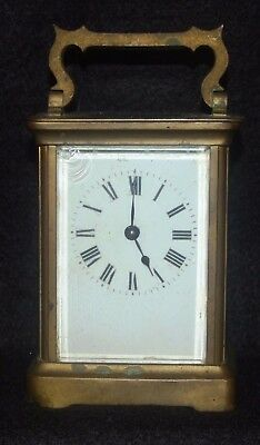 French Antique Gilded Brass Carriage Clock & Key by Duverday & Bloquet