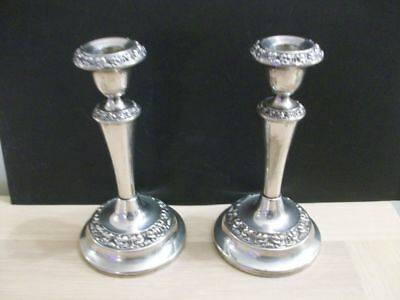 An Antique Silver Plate Pair  Of Candle Sticks  Victorian. Approx  1870/1900