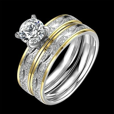 HOT 2PCs/Set Zirconia Titanium steel Couple Rings Wedding Bands Engagement