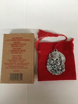 Avon 2012 SANTA Pewter Ornament Vintage NIB w/ Tassel & Red Bag Collectible Rare