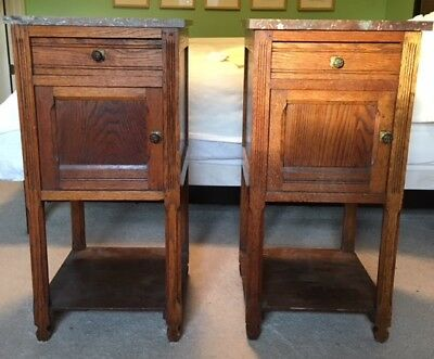 Antique Early 1900s ARTS & CRAFTS Oak Nightstands, Marble Tops, Fine Details