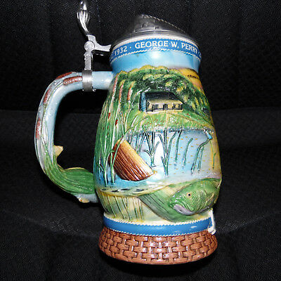 1997 Limited Edition Longton Crown Fishing Hall of Fame Largemouth Bass Stein