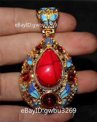 Tibet Silver copper Cloisonne inlaid Zircon Pendants Handwork